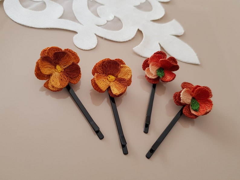 Flower Hair Pins Statement Hair Accessories Hair Pins Set image 0