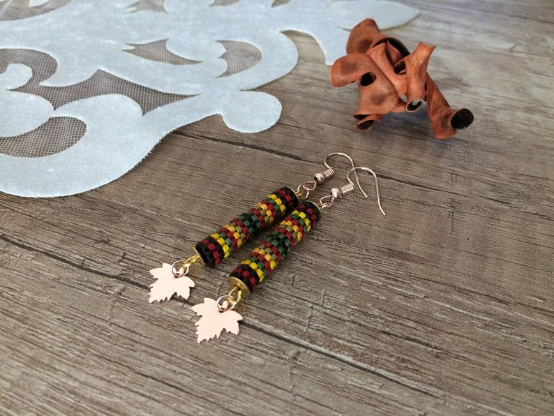 Dangle Leaf Earrings Tube Earrings Rose Gold Dangle Leaf image 0