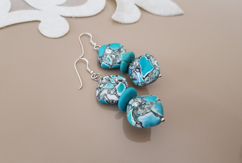 Turquoise Earrings Square Gemstone Jewelry Geometric Stone image 0