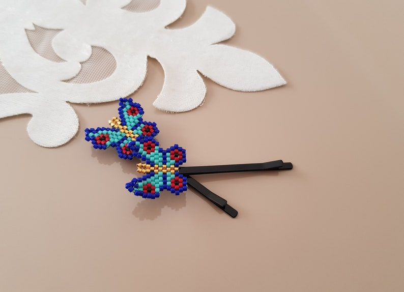 Beaded Hair Pin Butterfly Hair Accessories 2 Hair Bobby image 0