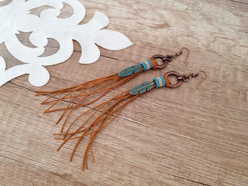 Hippie Feather Earrings Western Leather Earrings Leather image 0