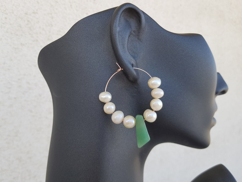 Modern Pearls Hoop Earrings Green Aventurine Jewelry Hoop image 0
