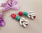 Ethnic Tribal Earrings, Afrocentric Jewelry, Ocean African Earrings, Cowrie Shell Dangle, Layered Coral Earring, Boho Beach Dangle, Gift Her