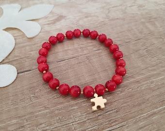 Gemstone Stacking Bracelet, Stretch Coral Bracelet, Puzzle Jewelry, Turquoise Bracelet, Beaded Bangle, Grounding Jewelry, Birthday Gift Her