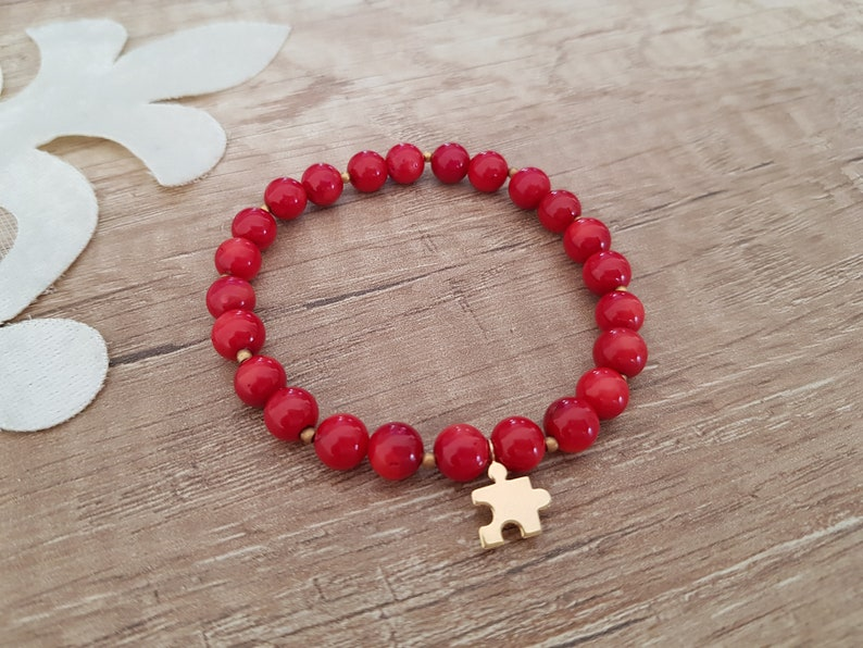 Gemstone Stacking Bracelet Stretch Coral Bracelet Puzzle Coral