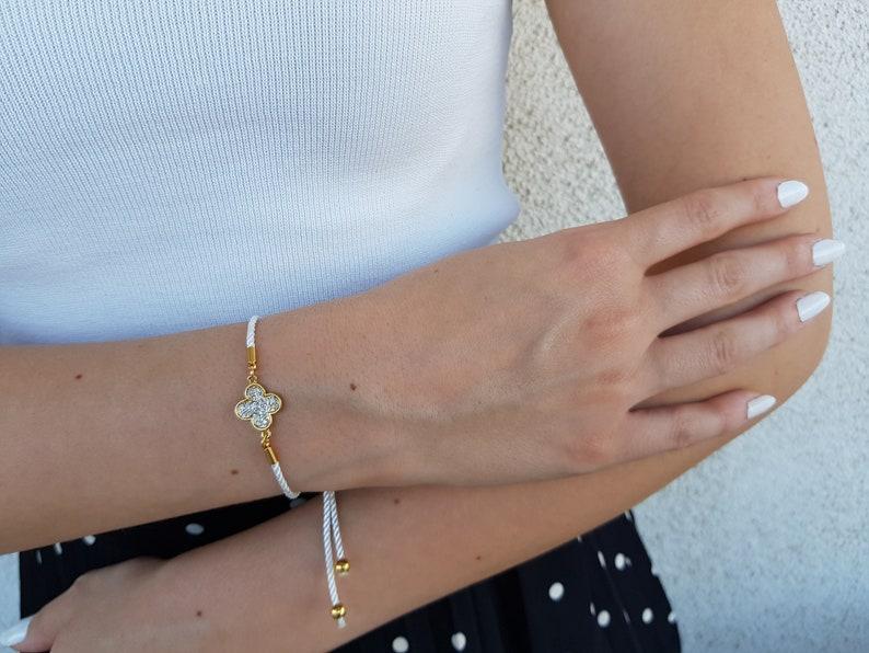 Lucky Clover Bracelet Elegant Adjustable Bracelet Shiny image 1