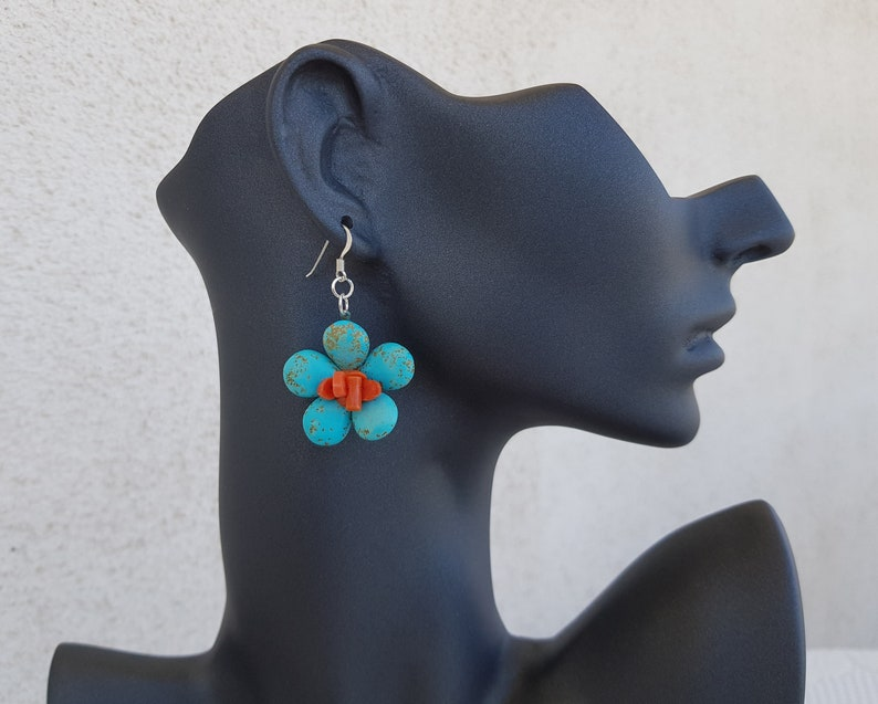 Turquoise Coral Daisy Earrings Flower Power Gemstone Dangle image 1