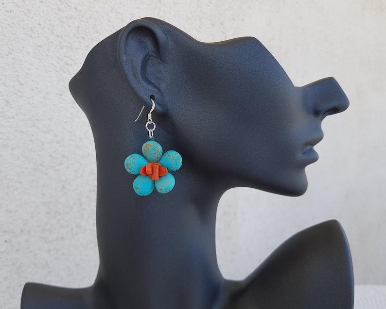 Turquoise Coral Earrings Daisy Earrings Flower Power Dangle image 0