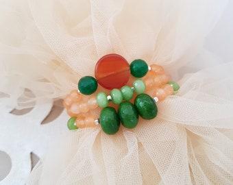 Stacking Bracelet Set, Beaded Layering Bracelet, Boho Jewelry, Semi Precious Stone Bracelets, Green Jade Stretch Bracelet, Birthday Gift Her