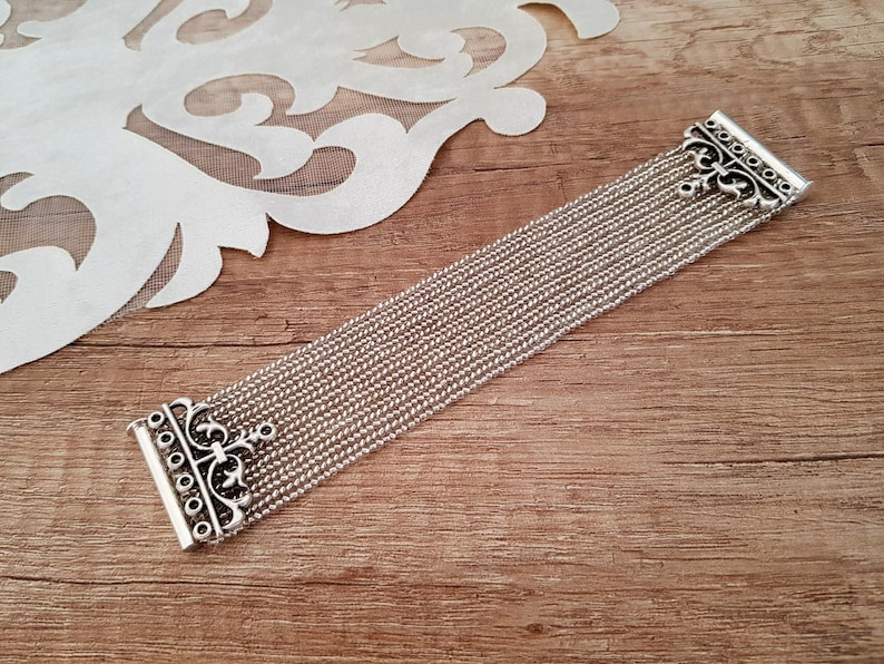 Beaded Cuff Bracelet Sparkly Silver Victorian Jewelry Prom image 0
