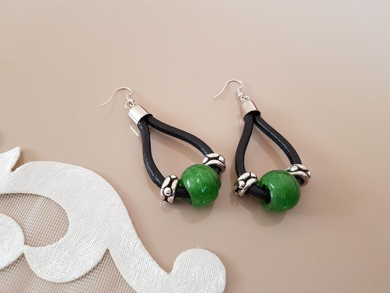 Leather Loop Earrings Boho Chic Jewelry Teardrop Hoop Loop image 0
