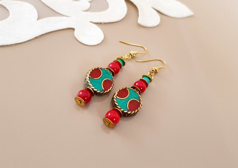 Boho Ethnic Earrings Bohemian Jewelry Tribal Earrings image 0