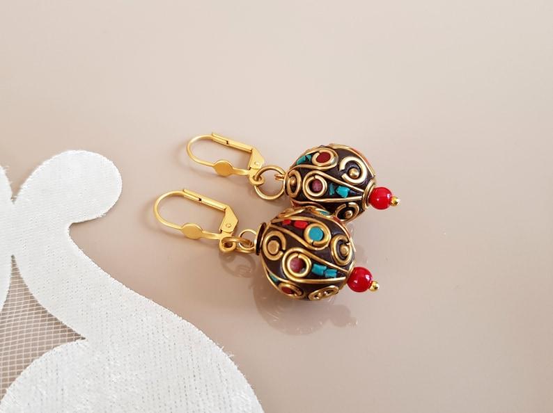 Drop Ethnic Earrings Tibetan Jewelry Mosaic Earrings image 1