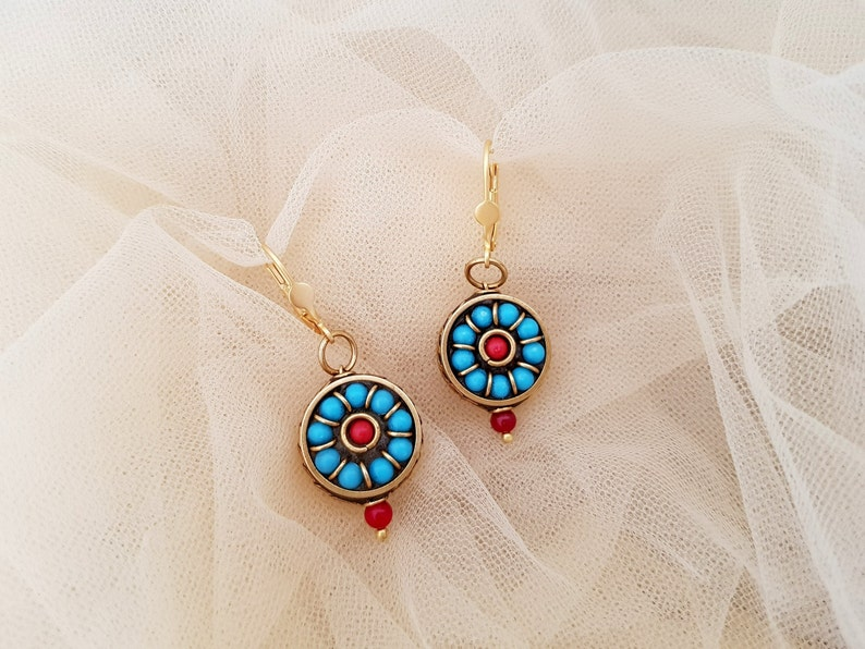 Tribal Dangle Boho Earrings BFF Gift Tibetan Jewelry Unique image 0