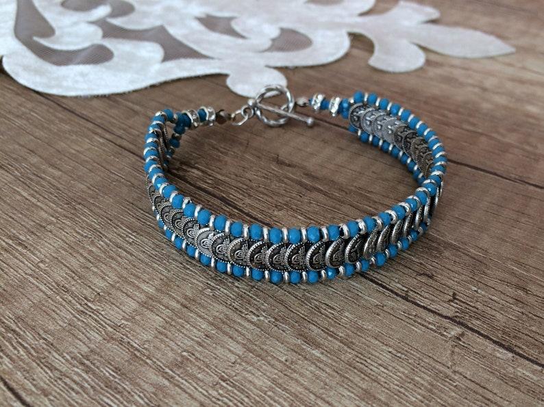 Boho Link Bracelet Authentic Jewelry Tribal Cuff Bracelet Blue