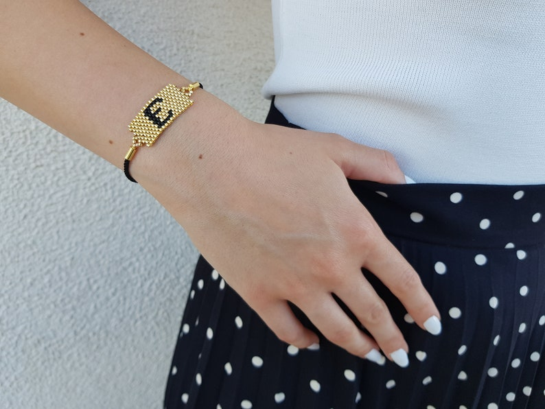 Initial Bracelet Personalized Jewelry BFF Gift Gold Letter image 1