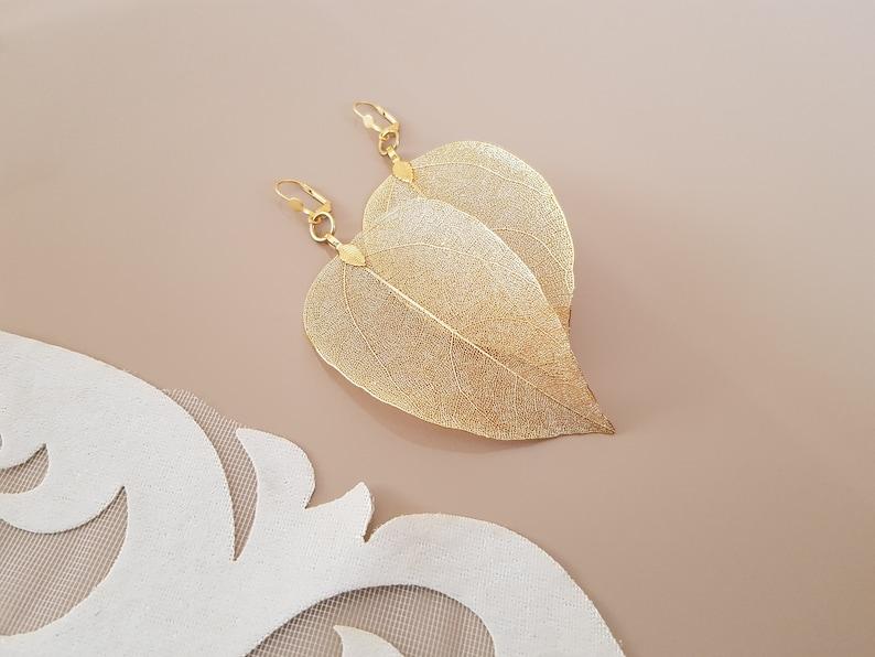 Real Leaf Earrings Gold Leaf Earrings Wedding Jewelry Gold