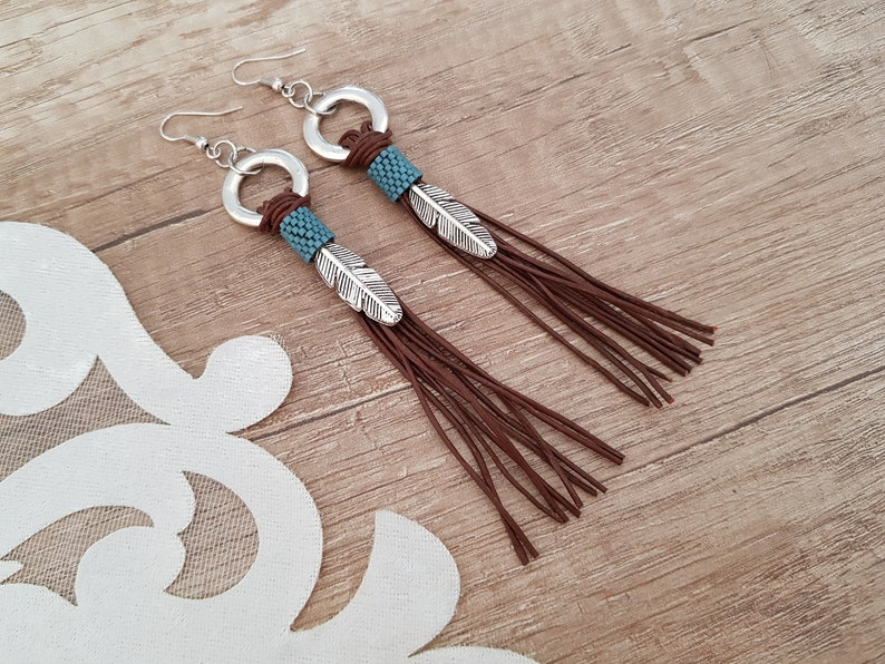 Leather Tassel Earrings Leather Boho Jewelry Feather image 1