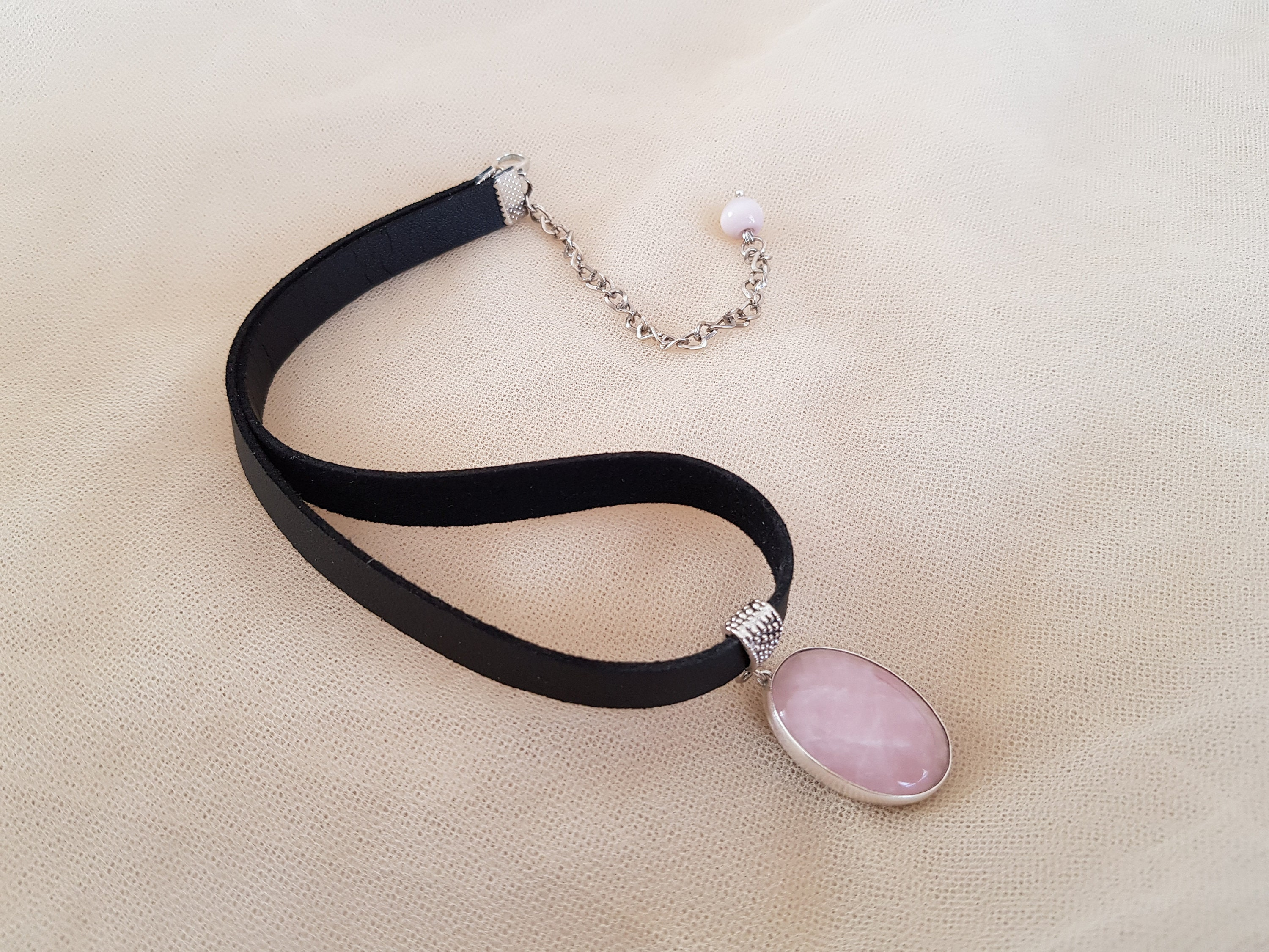 Silver Plated Accessory Ceramic Pendant Necklace Pink Necklace Handmade Multi Color Necklace Rose Quartz Natural Stone Necklace