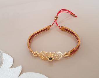 Unique Seed Bead Boho Bracelet, Dainty Women Accessory, Gold Filigree Victorian Jewelry, Bead Loom Cuff, Adjustable Beaded Woven Bracelet