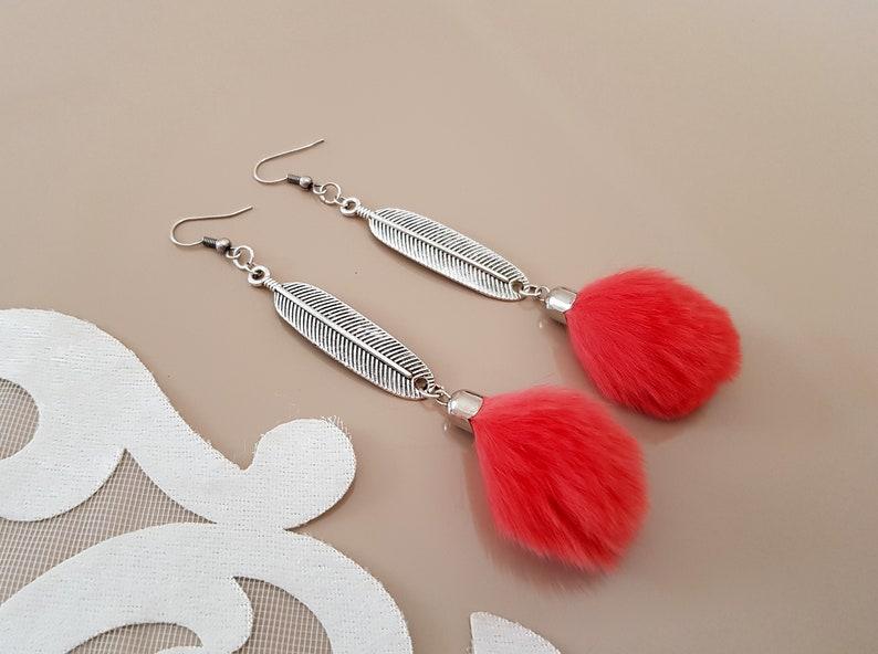 Feather Long Earrings Fur Pom Pom Earrings Boho Statement image 0