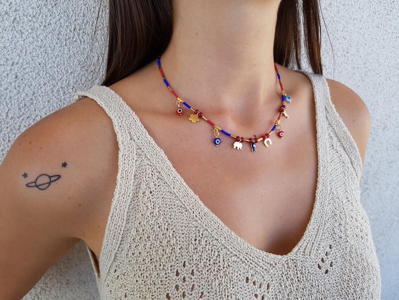 Evil Eye Necklace Lucky Jewelry Beaded Choker Minimal image 0