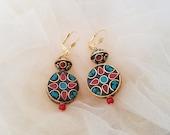 Boho Circle Earrings, Mosaic Jewelry, Nepal Tribal Dangle, Turquoise Coral Earrings, Bohemian Gypsy Earrings, Hippie Dangle, Gift For Her
