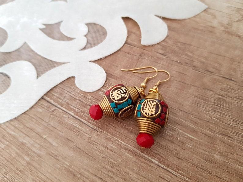 Mosaic Earrings Boho Ethnic Jewelry Tibetan Earring image 1