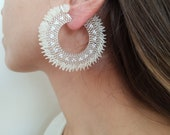 Boho Bridal Earrings, Beaded Hoops, Big Bold Earrings, Sequin Jewelry, White Large Hoops, Bridesmaid Gifts Day Of Wedding, Birthday Gift Her