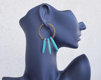 Beaded Hoop Earrings, Turquoise Bohemian Jewelry, Spike Hoops, Circle Brass Earrings, Gemstone Boho Dangle, December Birthstone, Gift Her
