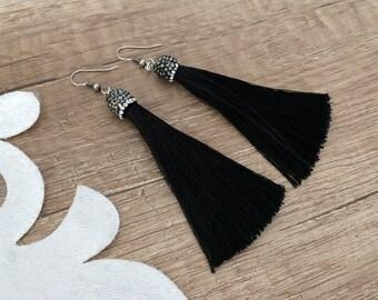 Long Dangle Tassel Earrings, Festival Boho Jewelry, Black Silk Fringe Dangle, Evening Earrings, Luxury Earrings, Hanging Dangle, Gift Her