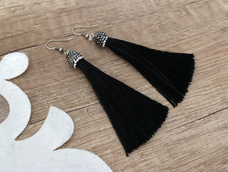 Long Dangle Tassel Earrings Festival Boho Jewelry Black Silk image 0