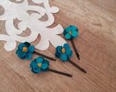 Bridal Flower Hair Pins, Teal Blue Hair Accessories, Floral Bobby Pins, Flower Hair Piece, Classic Blue Hair Clip, Bridesmaid Boho Hair Pin