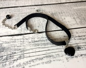 Gemstone Choker, Onyx Pendant Necklace, Black Leather Jewelry, Onyx Heart Necklace, Statement Jewelry, Gift For Mom, Birthday Gift For Her