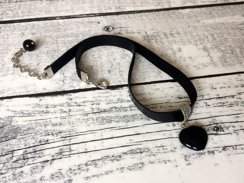 Gemstone Choker Onyx Pendant Necklace Black Leather Jewelry image 0
