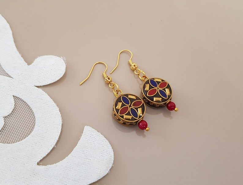 Tibetan Lapis Coral Earrings Ethnic Gypsy Dangling Nepal image 0