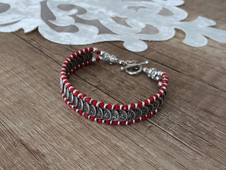 Boho Link Bracelet Authentic Jewelry Tribal Cuff Bracelet Red