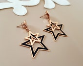 Double Star Earrings Stud Dangle, Rose Gold Celestial Jewelry, Push Back Dangle Earrings, Girlfriend Gift, Christmas Gift Her