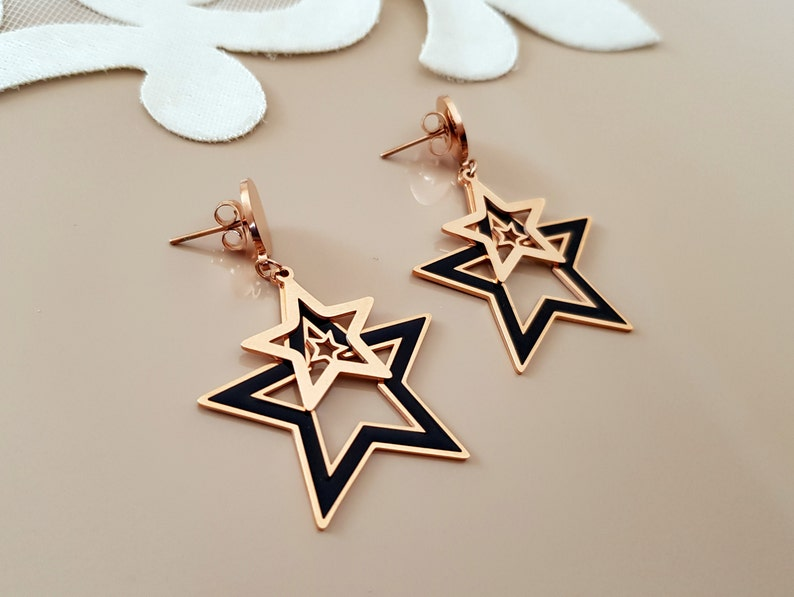 Star Earrings Celestial Jewelry Push Back Dangle Earrings image 0