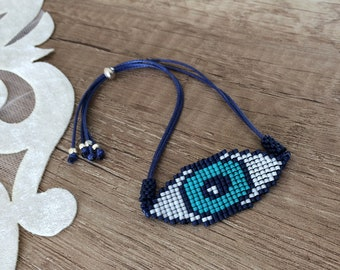 Beaded Evil Eye Bracelet, Protection Jewelry, Birthday Gift Her, Handcrafted Boho Bracelet, Best Friend Gift, Woven Bracelet, Amulet Gift