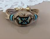 Beaded Tribal Bracelet, Boho Hippie Bracelet, Ethnic Gypsy Jewelry, Native Bohemian Bracelet, Leather Cuff Wristband, Birthday Gift For Her