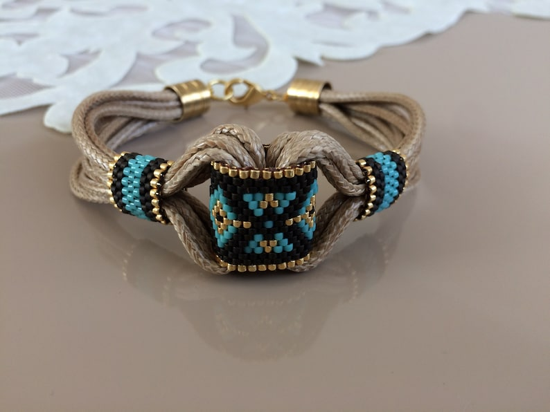 Beaded Tribal Bracelet Boho Hippie Bracelet Ethnic Gypsy Gold