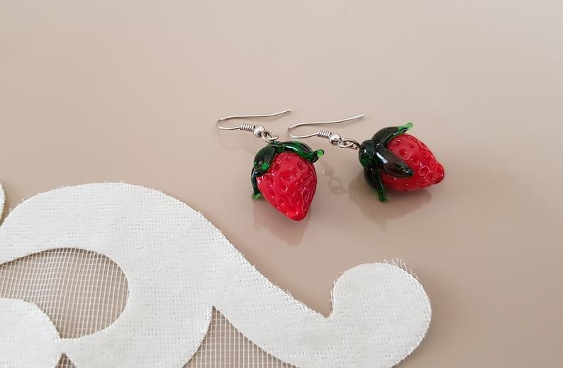 Glass Earrings Murano Fruit Jewelry Strawberry Cute image 0