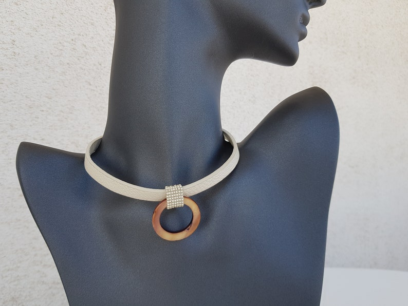 White Leather Choker O Ring Choker Mother Pearl Shell image 0