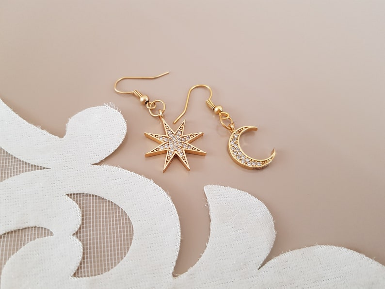 Mismatched Earrings Moon Star Jewelry Gold Celestial image 1