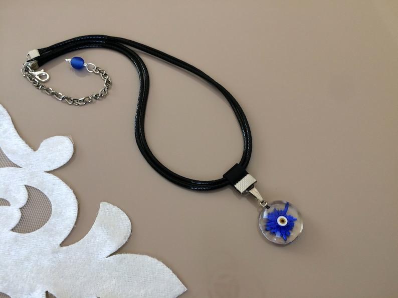 Blue Daisy Necklace Pressed Flower Jewelry Flower Power image 0