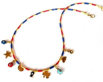 Evil eye necklace, Lucky necklace, Minimal necklace, Charm necklace, Gold statement necklace, Coral and lapis jewelry, Gift for her
