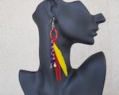 Native American Earrings, Feather Jewelry, Long Hoop Dangle, Southwestern Earrings, Boho Feather Jewelry, Festival Gypsy Earrings, Gift Her