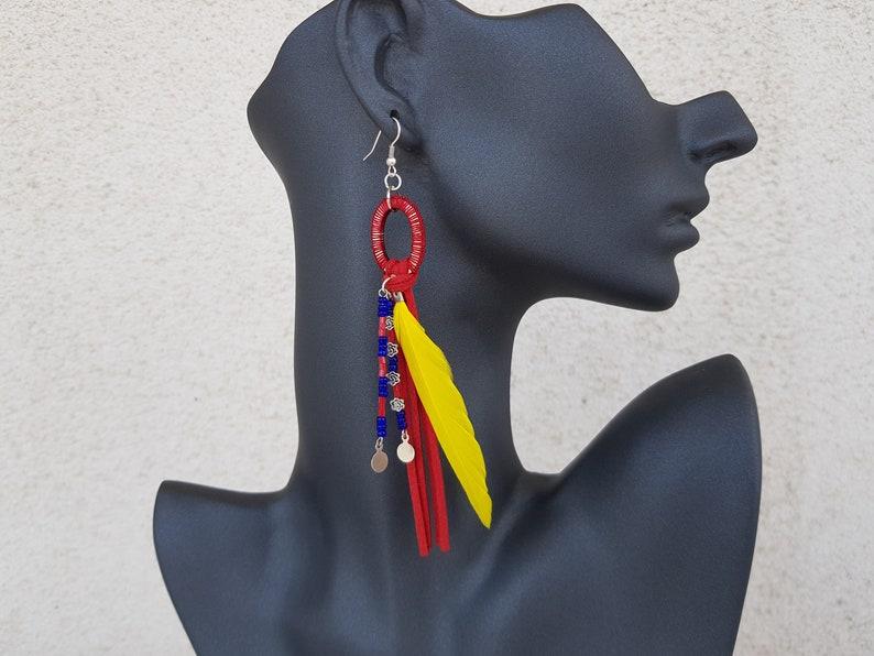 Native American Earrings Feather Jewelry Long Hoop Dangle image 0
