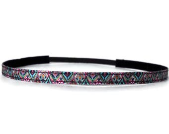 Skinny Headband. Non-Slip Headband. Best Headband. Yoga Headband. Workout headband. Fitness Headband. Gifts for Her. Aztec.